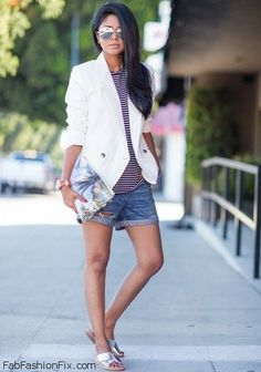 Style Watch: 50 summer street style inspirations with denim shorts | Fab Fashion Fix