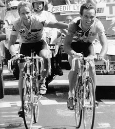 Greg Lemond and Bernard Hinault both finishing on top of the Alpe D'Huez in the Tour de France of '86.