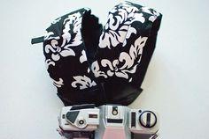 """Dani"" Padded Camera Strap in Riley Blake's ""Mystique"" fabric"