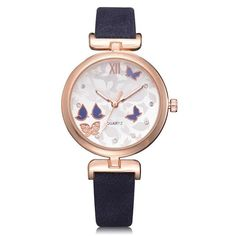 Women Watches Women Fashion Butterfly Style Leather Band Analog Quartz Wrist Ladies Watch Montre Femme Clock Relogio 5