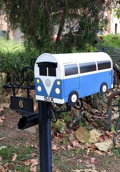 Custom BusBox that went to Australia. This was the first bus mailbox that I had ever cut a mail slot in, and built backwards with the mail door at the back.