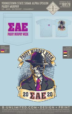 Sigma Alpha Epsilon Event Shirt | Fraternity Event | Greek Event #sigmaalphaepsilon #sae Paddy Murphy, Sigma Alpha Epsilon, Youngstown State, Social Events, Fraternity, All Design, Greek, Holidays, Shirts
