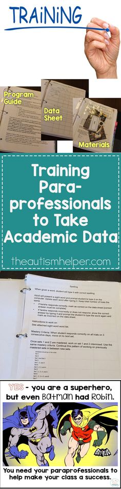 We share 6 important tips for training your paraprofessionals to take academic data in your classroom on the blog! From theautismhelper.com #theautismhelper