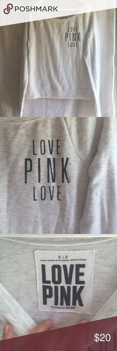 LOVE PINK SHEEK PULLOVER Awesome washes grey color! PINK Victoria's Secret Sweaters Crew & Scoop Necks