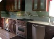 Love this aqua subway tile backsplash - and I can even see what it might look like with my dark cabinets.