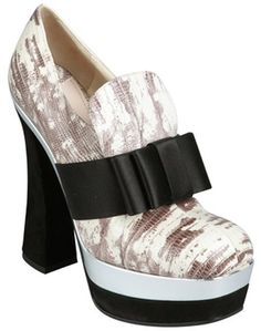 Ivory And Black Snake Embossed Leather Bow Loafer Heels