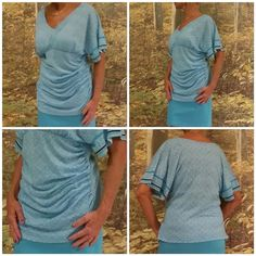 """Blue white rusched sides high low top XL Blue white, rusched sides, high low hem, V-neck, full bat/doleman fluttery sleeves, single black band towards end of sleeves, shirt tail hem in front, straight hem in back. Goes great with blue pencil skirt. 33"""" shoulder to hem in front, 22"""" from shoulder to hem in back, 41"""" bust, 38"""" arm pit seam to arm pit seam, 5"""" V-neck, 36"""" (approx due to rusching) waist from side seam to side seam, 21 1/2"""" from seam under bust to front hem. New York & Company…"""