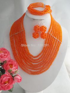 Free Shipping !!! A-1479 Latest Design African Wedding Jewelry Set Costume African Beads Jewelry Set Bridal Jewelry $41.33