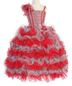 Look what I found on #zulily! Red & Silver Ruffle Dress - Toddler & Girls #zulilyfinds