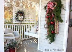Christmas Front Porch @ DaisyMaeBellelike the lattice to hang things on - picture only several cute ideas