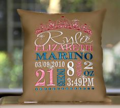 Girl Birth Announcement Embroidered Pillow by InspiredbyJu, $48.00