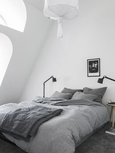 Gray bedding, white