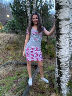 Sara is wearing a new refashion dress made of my mum's jacket💗 and my old T-shirt 👕 The jacket is sewn together at the front and tu. Refashion Dress, Old T Shirts, Dress Making, Butterflies, Short Sleeves, Sporty, Passion, Shirt Dress, Sewing