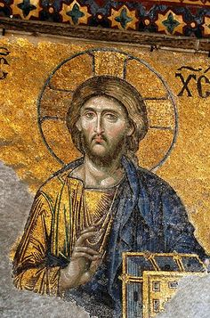 File:Santa Sofia - Crist Pantocrator.Deisis mozaiğinden bir detay. İsa'nın yüzünün iki yarısı birbirbinden farklı yapılmıştır.