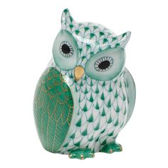 """Herend Hand Painted Porcelain Figurine of """"Mother Owl"""" in Green Fishnet Gold Accents."""