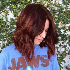 Auburn Hair Burning Hot Cinnamon Waves Reddish Brown Wavy Lob - Station Of Colored Hairs Fall Auburn Hair, Hair Color Auburn, Red Hair Color, Brown Hair Colors, Auburn Colors, Fall Hair Colors, Brown Auburn Hair, Short Auburn Hair, Red Color