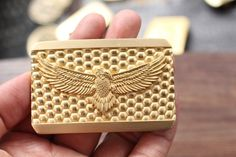 Solid Brass Bump & Eagle Embossed Belt Buckle