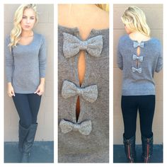 Grey Bow Back Sweater-daintyhooligan.com