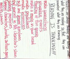 Reading is Thinking...my students created this list of what we think about when we read:) http://www.teacherspayteachers.com/Store/Jen-Bengel