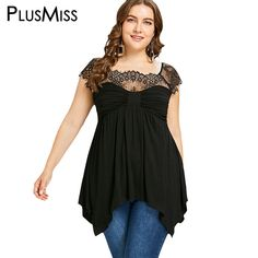 PlusMiss Plus Size 5XL 4XL Sexy Lace Mesh Tunic Top Women Clothes Big Size  Summer 2018 Short Sleeve Vintage Retro Blouse Ladies 8b9d388c9996