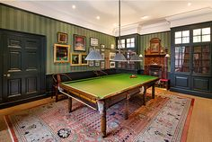 Classic Billiards Room: Daphne Du Maurier's childhood home,, Hampstead - with traditional greens and timber floor