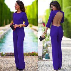 Pure 3/4 Sleeves Scoop Brief Slim Backless Long Jumpsuits
