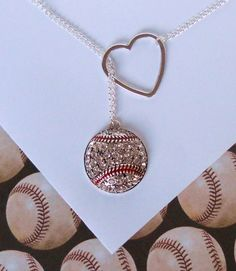 Baseball Lariat Necklace with Rhinestones and by melissawuest, $25.00