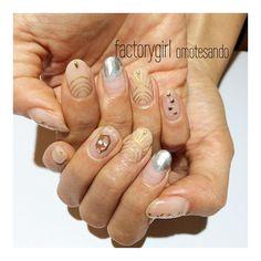 個性派オシャレdesign✡ #nail#nailart#factorygirl#metallic#gold#shell#clear#clearnail#ネイル#ネイルアート#メタリック#メタリックネイル#シェル#クリア#クリアネイル#個性派ネイル