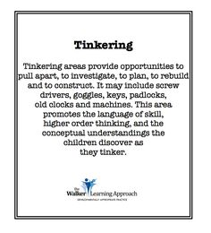 educational possibilities of tinkering in an ECE program Reggio Inspired Classrooms, Reggio Classroom, Preschool Classroom, Kindergarten, Inquiry Based Learning, Learning Centers, Early Learning, Early Education, Childhood Education