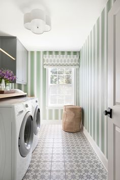My Laundry Room Reveal with Bria Hammel Interiors Laundry Room Design, Laundry Rooms, Striped Wallpaper, Formal Living Rooms, Modern Living, Corner Shelves, Room Accessories, Room Inspiration, House Tours