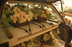 flower delivery with shelves and bungees