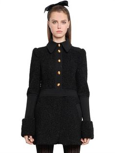 PHILOSOPHY DI LORENZO SERAFINI - FAUX ASTRAKHAN & COMPACT JERSEY COAT - COATS - BLACK - Luisaviaroma - Shirt style collar. Front button closure . Gold colored metal textured buttons. Hand-applied texture on buttons may vary . Patchwork construction . Two side pockets. Unlined . Sample size: 40
