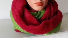 Infinity Scarf Cowl green Scarf white Stars red Fleece