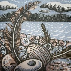 """Angie Lewin on Instagram: """"A detail of a new wood engraving for 'The Book of Pebbles' written by @christopher_stocks and to be published by @stjudes Random…"""" Angie Lewin, Lino Art, Wood Engraving, Environmental Art, Natural Forms, Printmaking, Folk Art, The Book, Pots"""