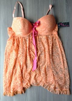 Wantable Intimates Icy Hot Lingerie Coral Babydoll & Thong Set Size Large