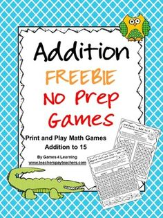 FREEBIE - These addition games are designed to make students apply their addition facts and also to make the think as they hunt for pairs or trios that add to required number. Math Classroom, Kindergarten Math, Teaching Math, Preschool, Addition Games, Math Addition, Math Resources, Math Activities, Math Strategies