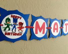 NEW STYLE 2 IN 1 Pj Masks Birthday Banner Pj por LisasPartyShoppe