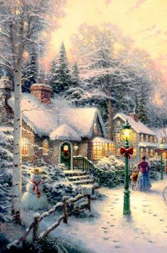 Magical Christmas, Christmas Art, Winter Christmas, Thomas Kinkade Art, Thomas Kinkade Christmas, Christmas Scenes, Christmas Villages, Vintage Christmas Images, Christmas Pictures