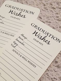 This listing is for a set of 12 handmade graduation tags. The perfect addition to any graduation party and doubles as a great gift to the graduate as they get to read a special message from their loved ones. They are printed on your choice of white or ivory card stock and all four