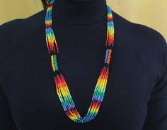 Native Embera Indian Beaded Necklace from Latin America      Beaded Necklace made by Embera Indians      This item was handmade by ...