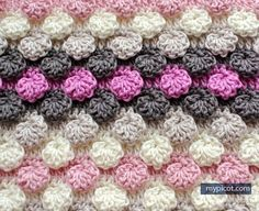 [Free Pattern] Learn A New Crochet Stitch: Crochet Textured Bobble - Shell Stitch - Knit And Crochet Daily Picot Crochet, Crochet Motifs, Crochet Stitches Patterns, Tunisian Crochet, Crochet Chart, Knitting Stitches, Stitch Patterns, Knitting Patterns, My Picot