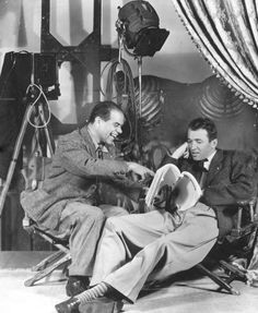 Frank Capra and James Stewart on the set of 'It's a Wonderful Life'.