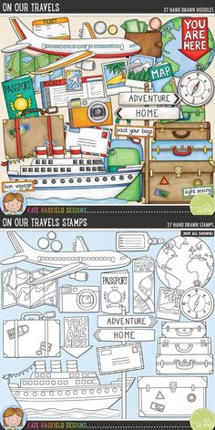 Travel / vacation digital scrapbook elements / cute travel clip art! Hand-drawn doodles and illustrations for digital scrapbooking, crafting and teaching resources from Kate Hadfield Designs.