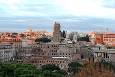 View over the Markets of Trajan, Torre delle Milizie, and the Quirinal and Viminal hills.