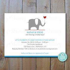 Elephant Baby Shower Invitation / Printable Baby Boy Shower Invitation / Little Peanut / Item 92356 on Etsy, $15.00