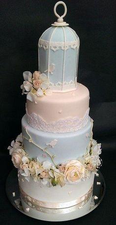 Birdcage Vintage Summer Wedding Cake - Cake by Chocomoo