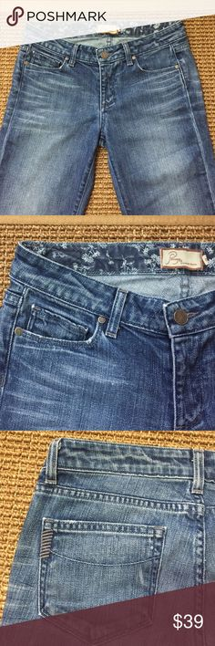 """Paige Hollywood Hills Classic Rise Bootcut Size 28 Paige Beautiful Hollywood Hills classic rise boot cut, distress premium jeans. RN# 27002, CA # 51217. 98% cotton, 2% spandex fabric. Minor flaying at the hemline for that cool broken in look. Waist 28"""", length 33"""", flare 9.5"""". Wonderful condition Paige Jeans Jeans Flare & Wide Leg"""