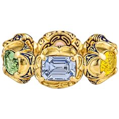 Otto Jakob Fancy Shaped Multi Colored Sapphire Enameled Gold RIng