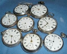 Dealer lot 8 silver case pocket watches inc two pair case fusee Georgian working