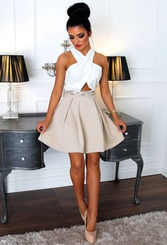 304bc4b6c6 Fairyland Nude  amp  White Embellished Skater Dress Going Out Outfits
